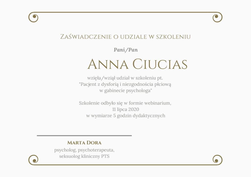 Anna Ciucias - Zaświadczenie Dysforia