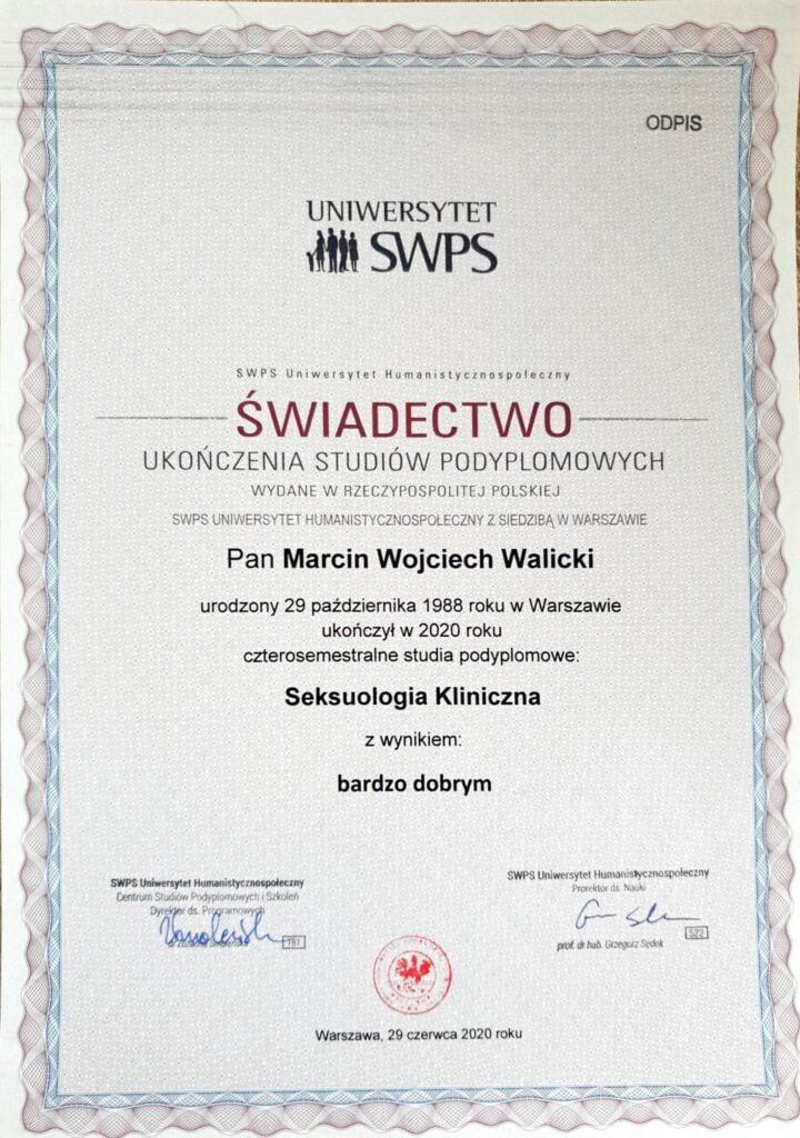 Marcin Walicki - Dyplom Seksuologia kliniczna
