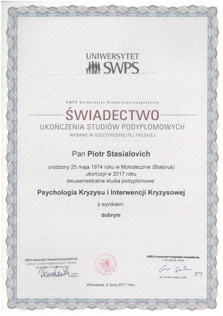 Piotr Stasialovich - Podyplomowe - Psychologia Kryzysu i Interwencji Kryzysowej