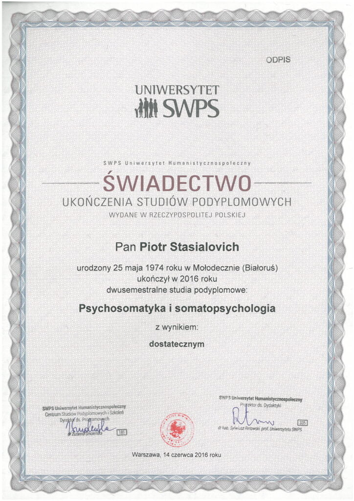 Piotr Stasialovich - Podyplomowe - Psychosomatyka i Somatopsychologia