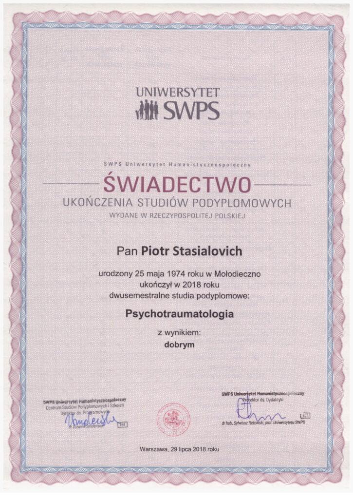 Piotr Stasialovich - Podyplomowe - Psychotraumatologia