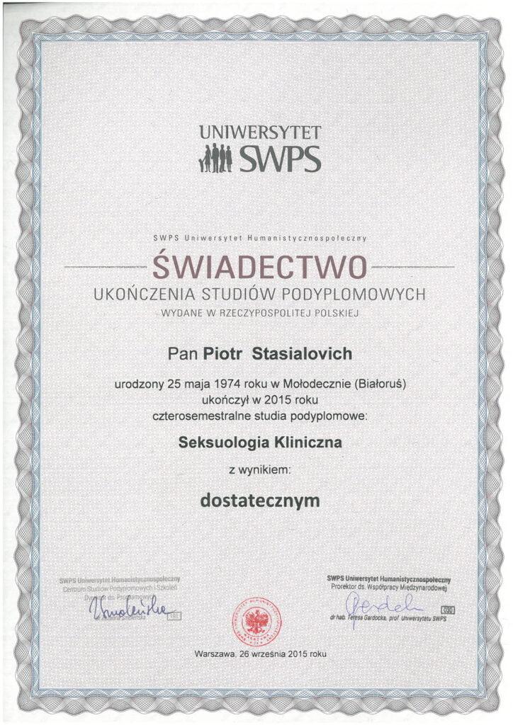 Piotr Stasialovich - Podyplomowe - Seksuologia Kliniczna