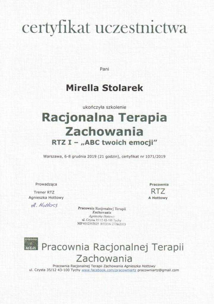 Mirella Stolarek - Racjonalna Terapia Zachowania