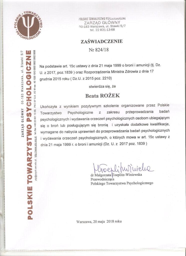 Zaświadczenie - Beata Rożek - PTS